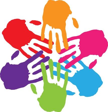 � teamwork: Molte mani di collegamento Vettoriali