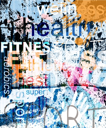 FITNESS. Word Grunge collage on background. Stock Illustratie