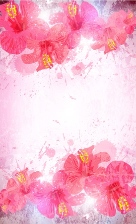 summer break: Abstract tropical background. Hibiscus flower for design.