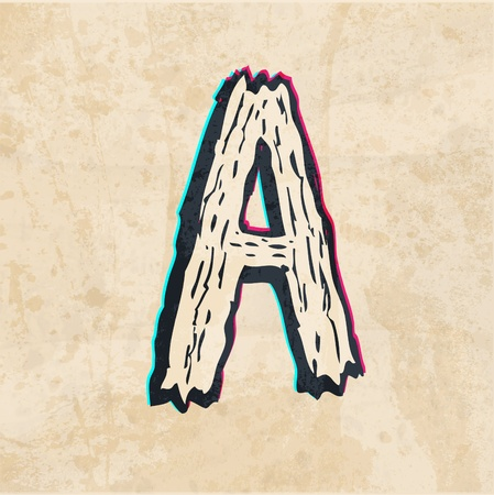 The letter A. On the old paper. sketch Illustration