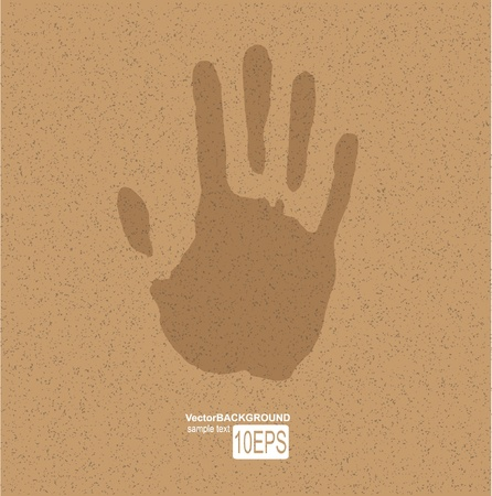 hand beats: Handprint on paper Illustration