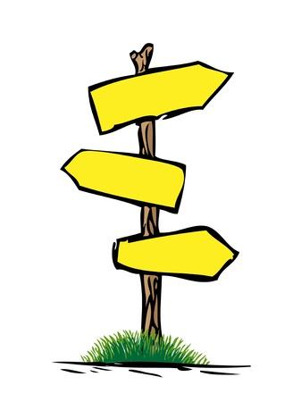 나무 도로 표지판