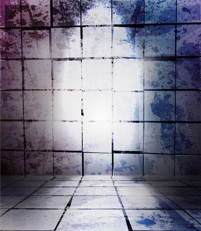 pictured: Old room, grunge interior vector background
