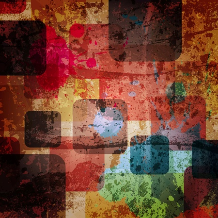 block: squares on the grunge wall, abstract  background Stock Photo