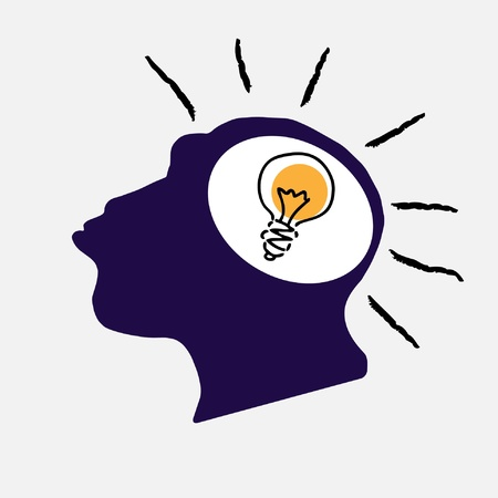 brain storm: illustration of idea bulb in stylized monkey head