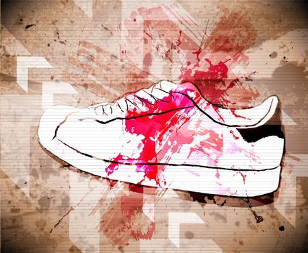fashion design: Sport shoes. Vector illustration