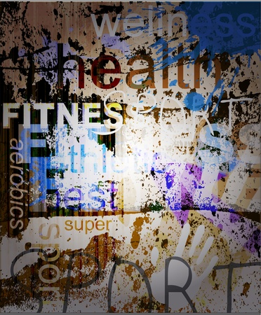 FITNESS. Word Grunge collage on background. Vectores