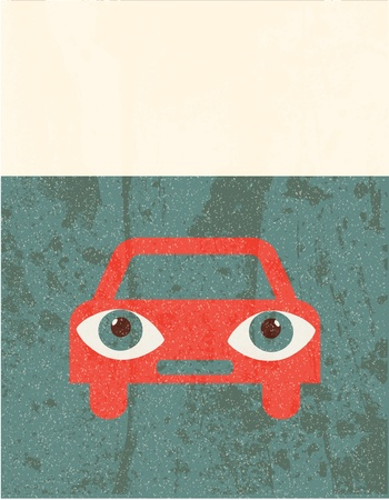 car care center: Retro grunge poster. Car Illustration