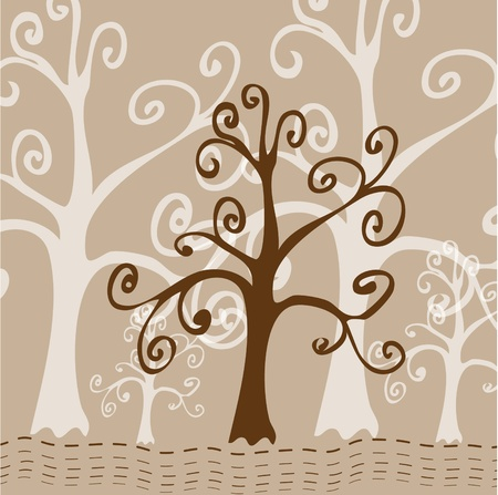 Tree stylized Card Vector