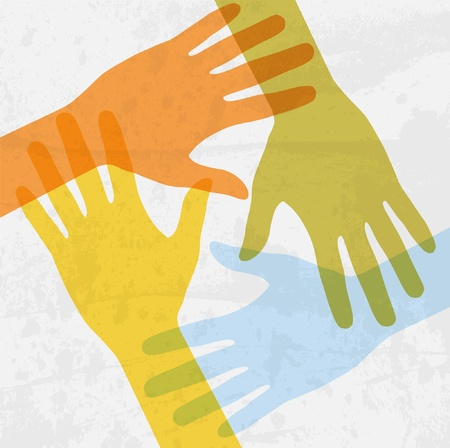 strong partnership:  hands connecting
