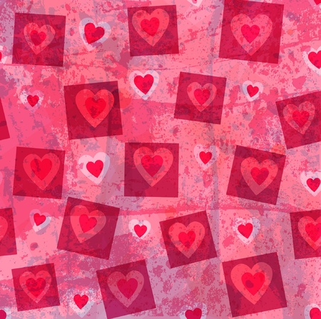 red wallpaper: Grunge hearts vector background