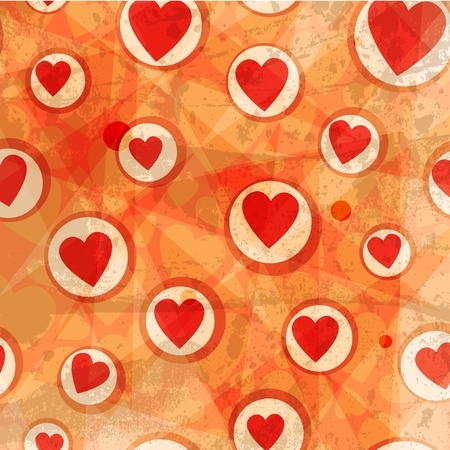 Grunge hearts vector background
