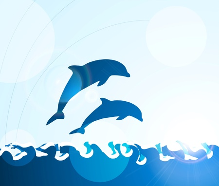 underwater fishes: Dolphin jumping through waves Illustration