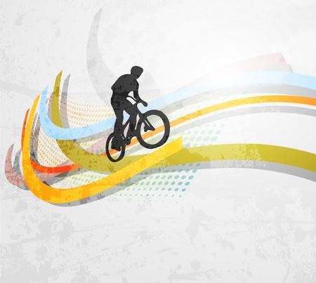 cycling helmet: Vector illustration of BMX cyclist on rainbow