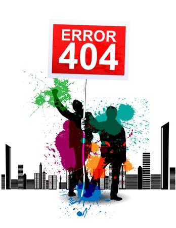 fouten: 404 Pagina niet gevonden Stock Illustratie