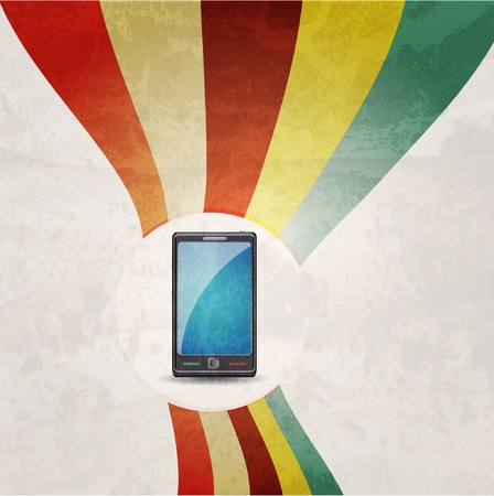 Illustration of mobile phone. Retro background Stock Vector - 10290104