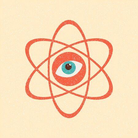The model of a molecule atom. Retro poster Stock Vector - 10290097