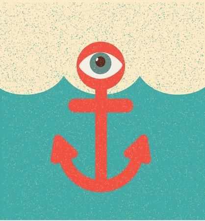 Anchor. Retro poster Vector