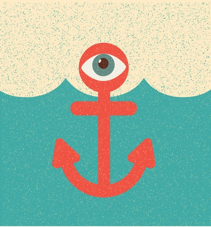 Anchor. Retro poster Vector