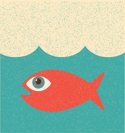 bunter fisch: Fisch. Retro-poster