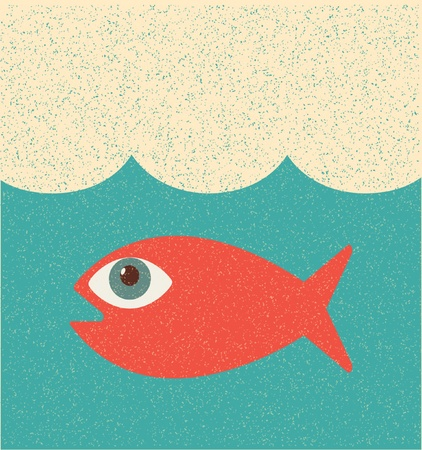 queue poisson: Poissons. Affiche R�tro
