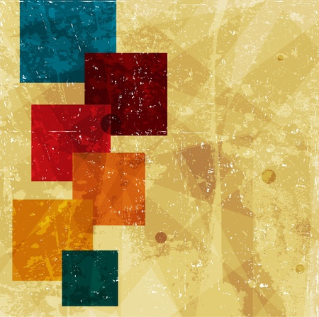 squares on the grunge wall, abstract vector background Vettoriali