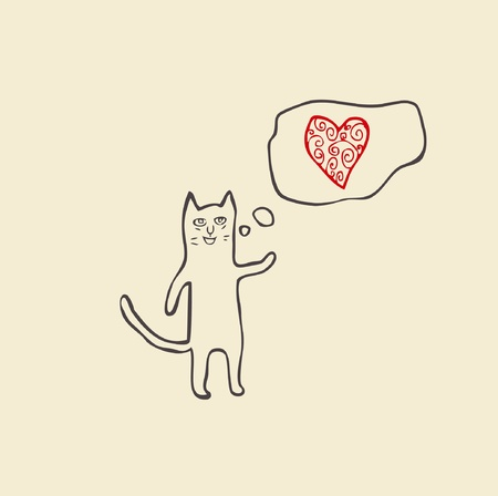 cat singing about love Illustration