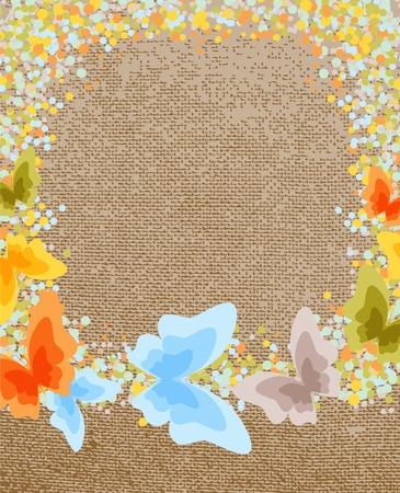 Butterfly on the canvas background Illusztráció
