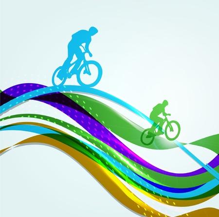 虹に BMX の自転車  イラスト・ベクター素材