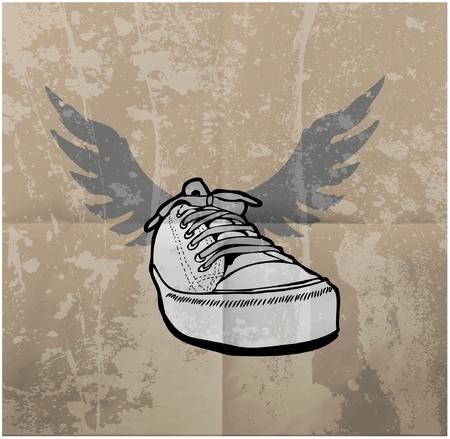 vieze handen: Stijlvolle Sneakers. Op grunge achtergrond