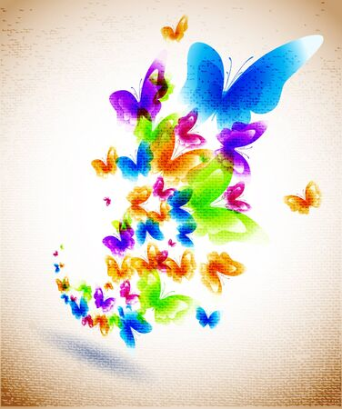fabrick: Butterfly on the canvas background Illustration