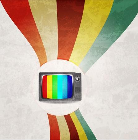 레트로 TV 배경 일러스트