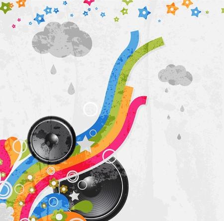 Rainbow Disco Background with speaker and stars Vettoriali