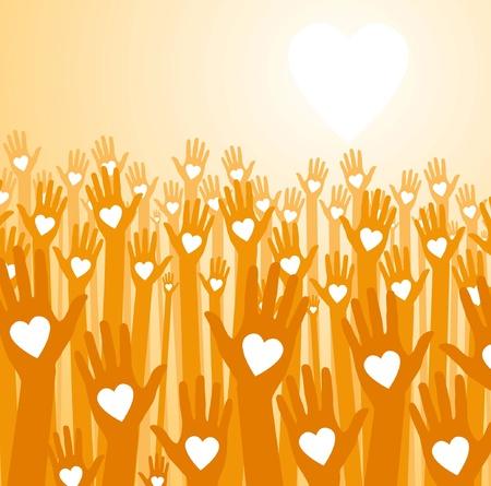 Liefde zonsondergang. Liefdevolle handen