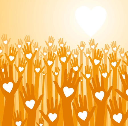 Love sunset. Loving hands Stock Vector - 10325360
