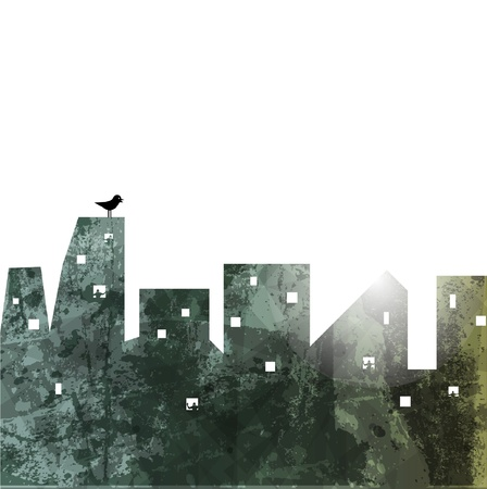 city man: The city wall. abstract illustration.  Illustration