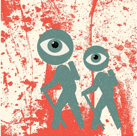 walking trail: tourists retro poster Illustration