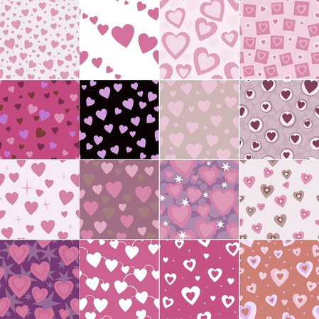 red wallpaper: super set seamless pattern with hearts Illustration