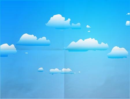 cumulus: Cloud Blue Sky on paper.  Illustration