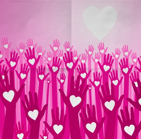 loving hands on paper background Stock Vector - 10340615