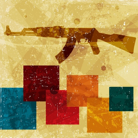 murder: grunge AK 47 on wall Illustration