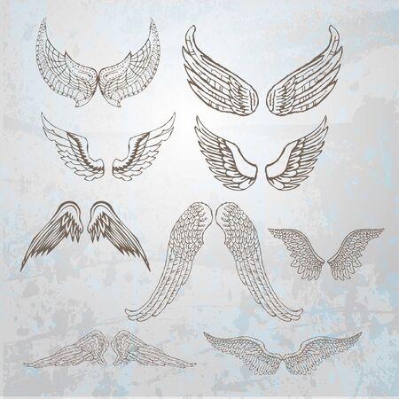 Wings set.  hand drawn illustration. Stok Fotoğraf - 10426543