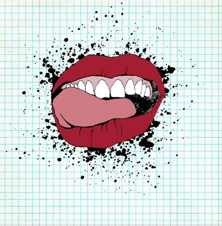 Fully open mouth with teeth and tongue and licking his lips. On a paper grunge background