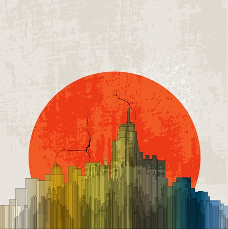 Apocalyptic retro poster. Sunset. Grunge background. Vector