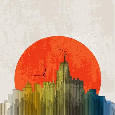 Cartel retro apocalíptico. Puesta de sol. Fondo grunge. Ilustración de vector