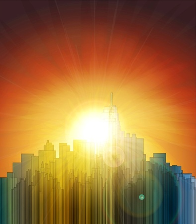 Sunset over the big city. Abstract background. Design a poster. Vector