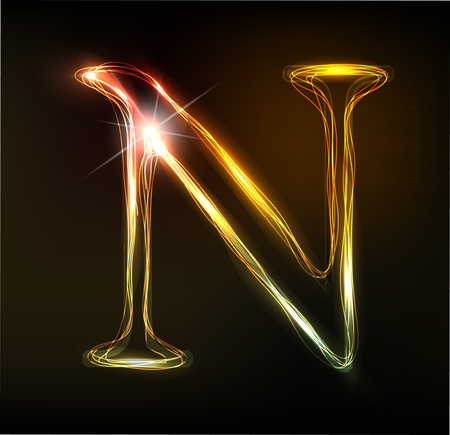 neon: Glowing neon font. Shiny letter