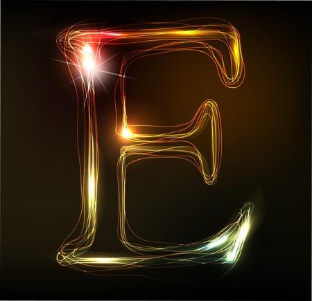 네온 글꼴 빛나는. 반짝이 편지 일러스트