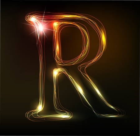 write letter: Glowing neon font. Shiny letter