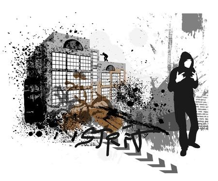 paint spill: Grunge urban background